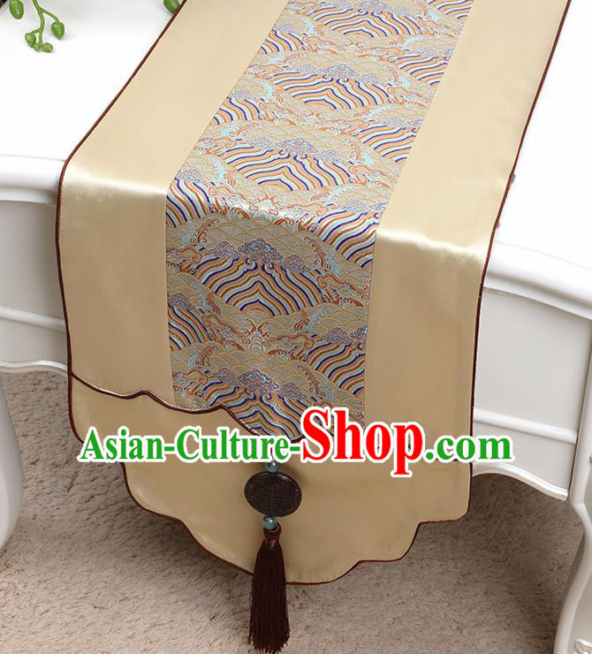 Chinese Traditional Golden Brocade Table Cloth Classical Pattern Household Ornament Table Flag