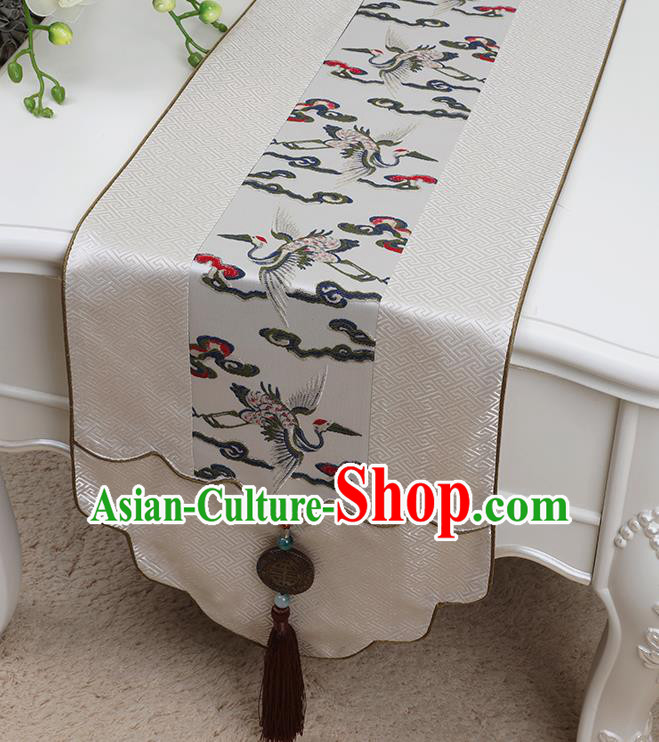 Chinese Traditional White Brocade Table Cloth Classical Pattern Household Ornament Table Flag