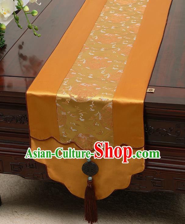 Chinese Traditional Golden Brocade Table Cloth Classical Dragons Pattern Household Ornament Table Flag
