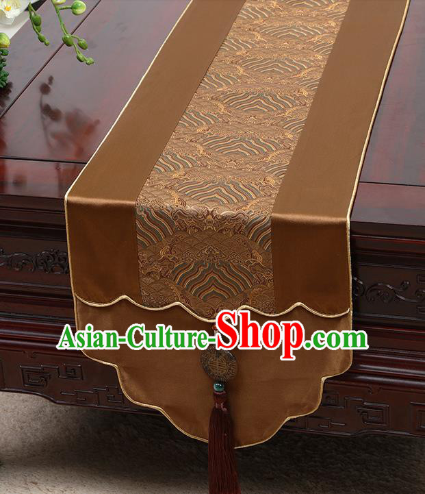 Chinese Traditional Brown Brocade Table Cloth Classical Pattern Household Ornament Table Flag