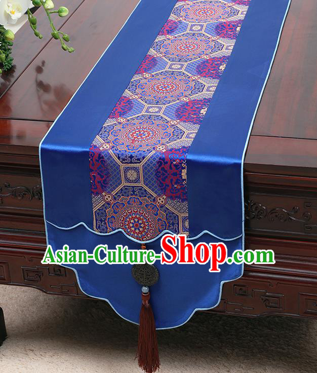 Chinese Traditional Royalblue Brocade Table Cloth Classical Pattern Household Ornament Table Flag