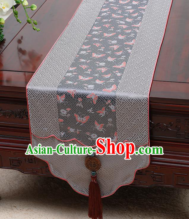 Chinese Traditional Grey Brocade Table Cloth Classical Butterfly Pattern Household Ornament Table Flag