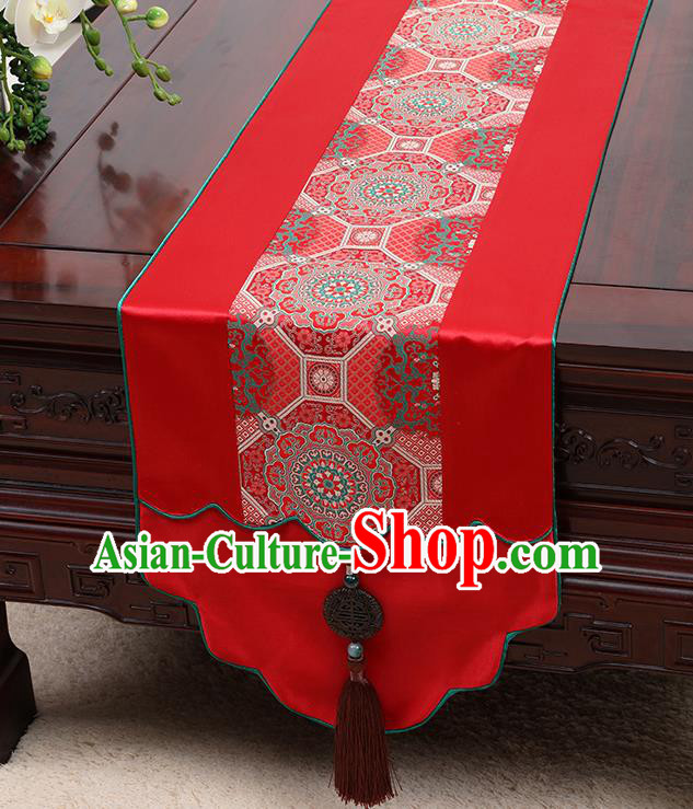 Chinese Traditional Red Brocade Table Cloth Classical Pattern Satin Household Ornament Table Flag