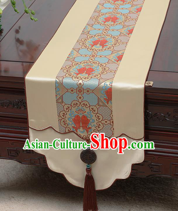 Chinese Traditional Beige Brocade Table Cloth Classical Fishes Pattern Satin Household Ornament Table Flag