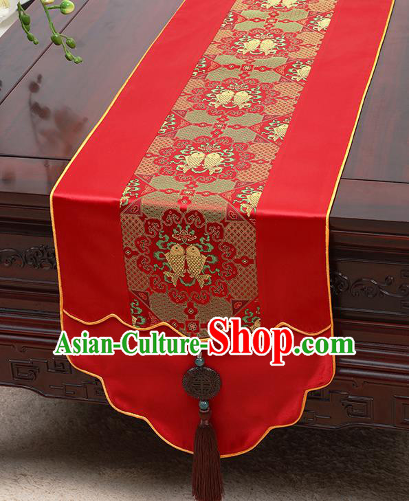 Chinese Traditional Red Brocade Table Cloth Classical Fishes Pattern Satin Household Ornament Table Flag