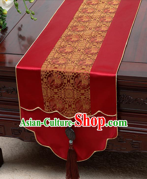 Chinese Traditional Wine Red Brocade Table Cloth Classical Pattern Satin Household Ornament Table Flag