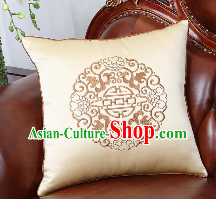 Chinese Traditional Embroidered Beige Brocade Back Cushion Cover Classical Household Ornament