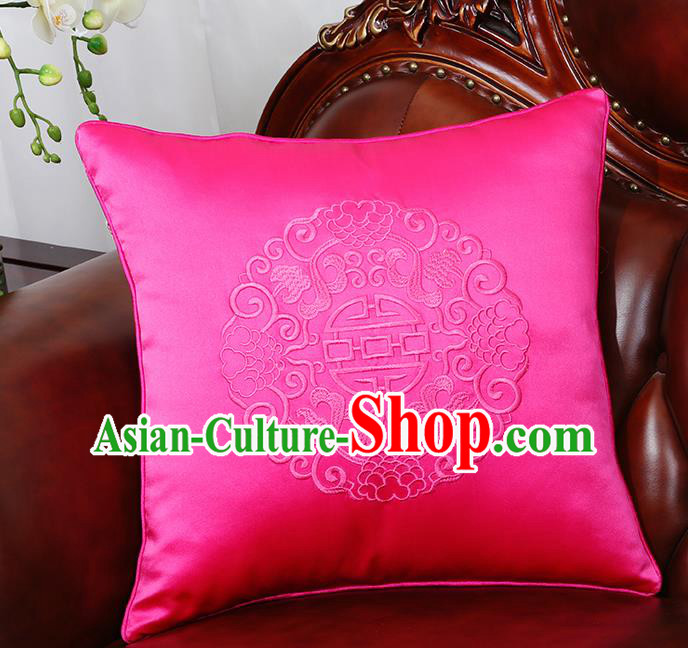 Chinese Traditional Embroidered Rosy Brocade Back Cushion Cover Classical Household Ornament