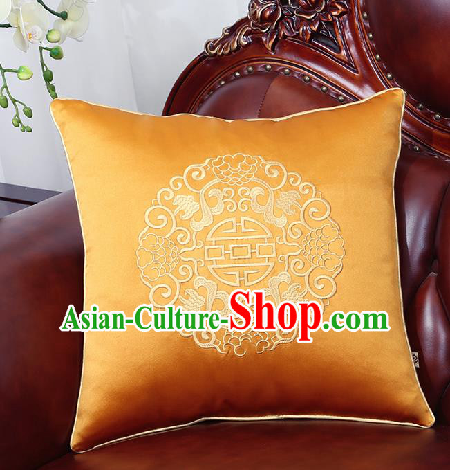 Chinese Traditional Embroidered Golden Brocade Back Cushion Cover Classical Household Ornament