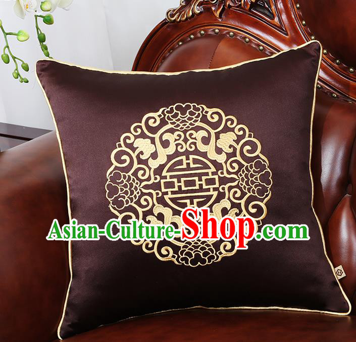 Chinese Traditional Embroidered Deep Brown Brocade Back Cushion Cover Classical Household Ornament