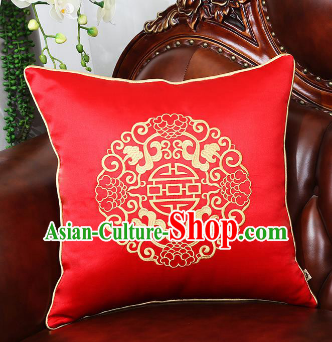 Chinese Traditional Red Brocade Back Cushion Cover Classical Embroidered Household Ornament