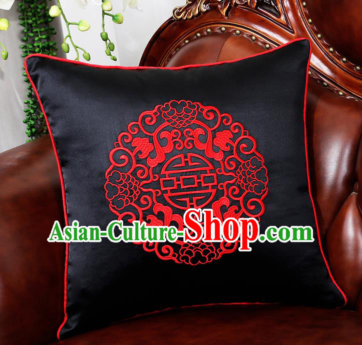 Chinese Traditional Black Brocade Back Cushion Cover Classical Embroidered Household Ornament