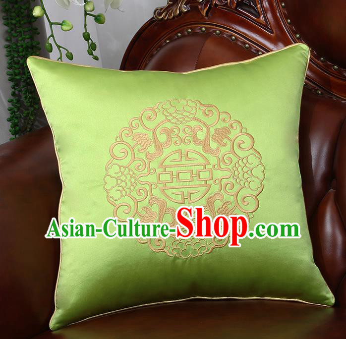Chinese Traditional Light Green Brocade Back Cushion Cover Classical Embroidered Household Ornament