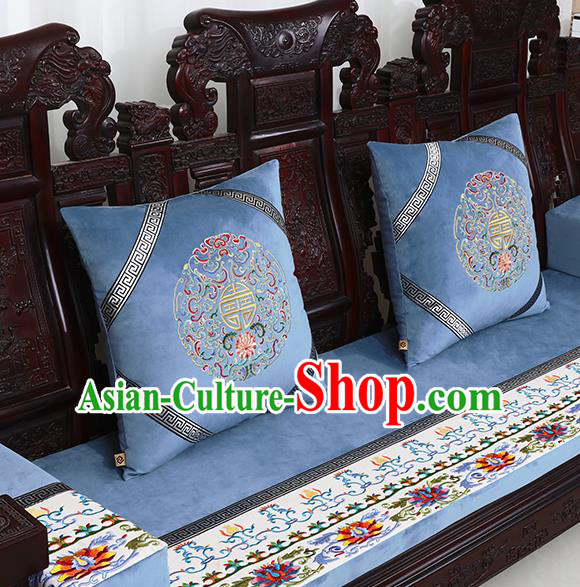 Chinese Traditional Embroidered Lotus Blue Brocade Back Cushion Cover Classical Household Ornament