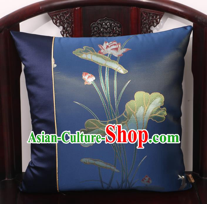 Chinese Traditional Lotus Pattern Navy Brocade Back Cushion Cover Classical Household Ornament