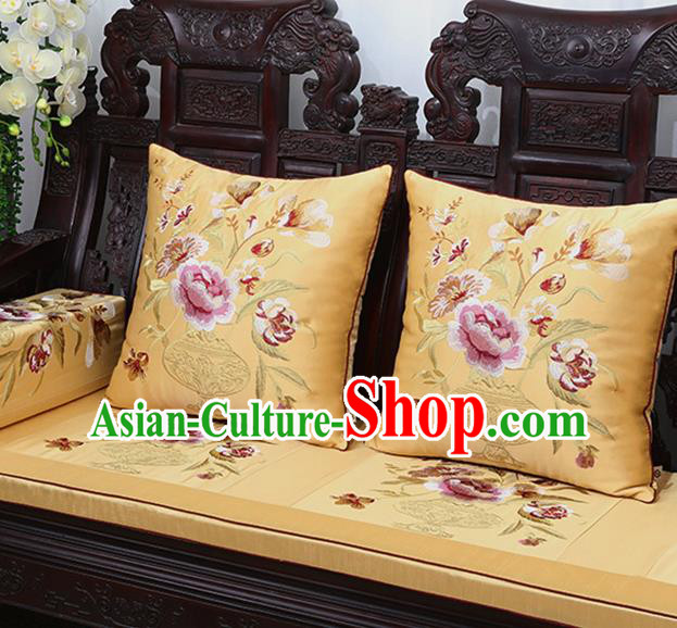 Chinese Traditional Embroidered Peony Golden Brocade Back Cushion Cover Classical Household Ornament