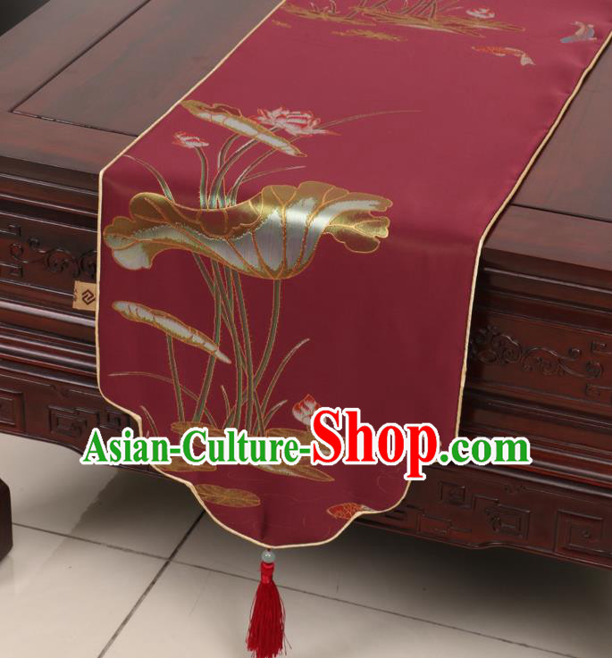 Chinese Traditional Lotus Pattern Red Brocade Table Cloth Classical Satin Household Ornament Table Flag