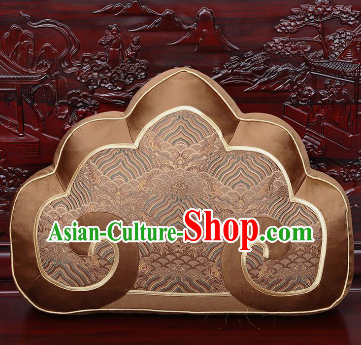 Chinese Traditional Arhat Bed Brown Brocade Back Cushion Cover Classical Household Ornament