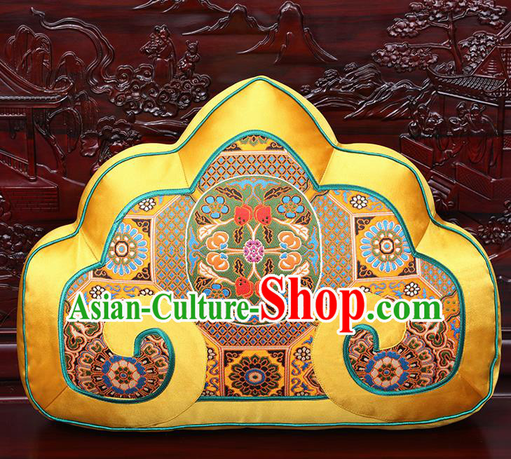 Chinese Traditional Arhat Bed Golden Brocade Back Cushion Cover Classical Household Ornament