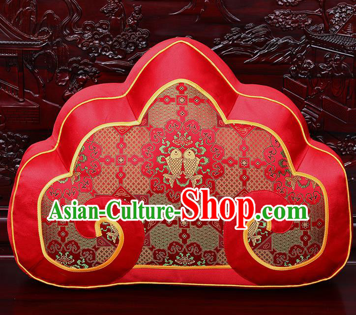 Chinese Traditional Arhat Bed Red Brocade Back Cushion Cover Classical Household Ornament