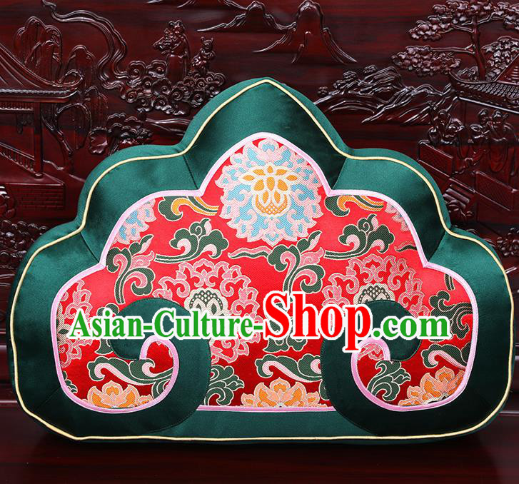 Chinese Traditional Arhat Bed Green Brocade Back Cushion Cover Classical Household Ornament