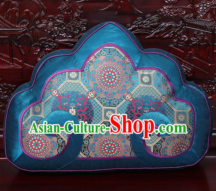 Chinese Traditional Arhat Bed Blue Brocade Back Cushion Cover Classical Household Ornament