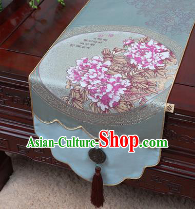 Chinese Traditional Peony Pattern Blue Brocade Table Cloth Classical Household Ornament Table Flag