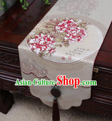 Chinese Traditional Peony Pattern Beige Brocade Table Cloth Classical Household Ornament Table Flag