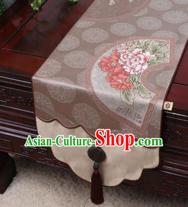 Chinese Traditional Peony Pattern Khaki Brocade Table Cloth Classical Household Ornament Table Flag