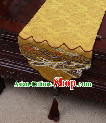 Chinese Traditional Wave Pattern Bright Yellow Brocade Table Cloth Classical Household Ornament Table Flag