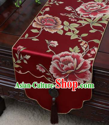 Chinese Traditional Peony Pattern Wine Red Brocade Table Cloth Classical Household Ornament Table Flag