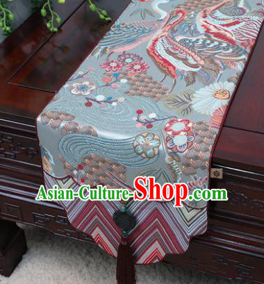 Chinese Traditional Cranes Pattern Blue Brocade Table Cloth Classical Household Ornament Table Flag