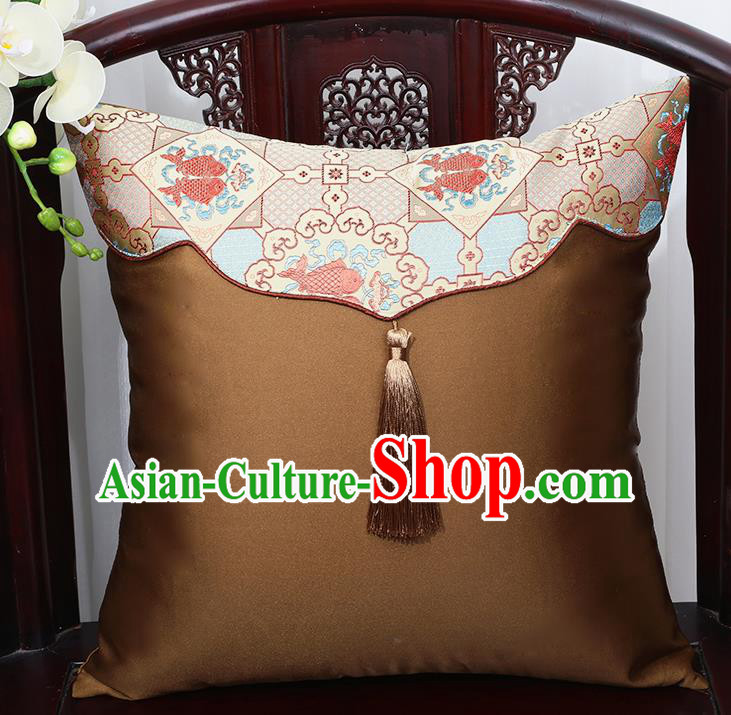 Chinese Traditional Brown Brocade Back Cushion Cover Classical Household Ornament