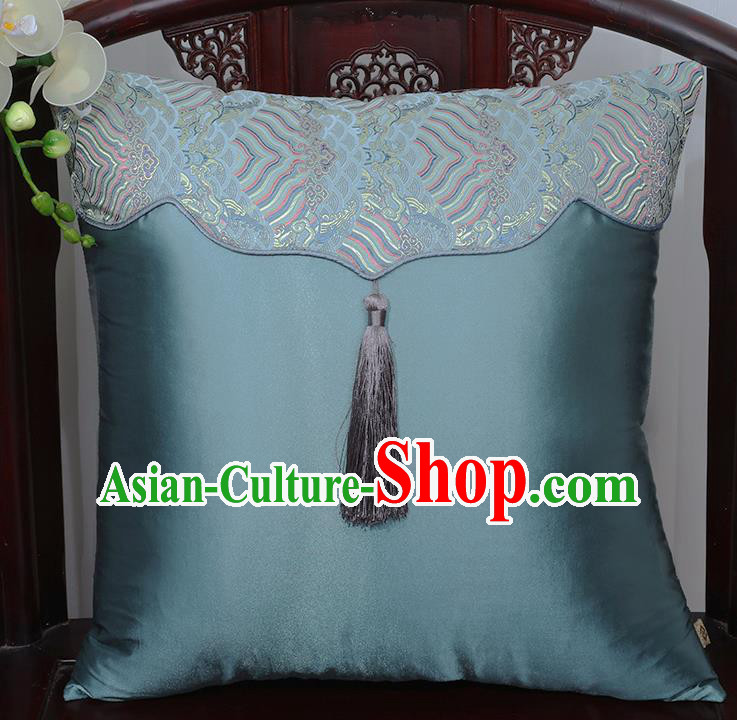 Chinese Traditional Pattern Blue Brocade Tassel Back Cushion Cover Classical Household Ornament