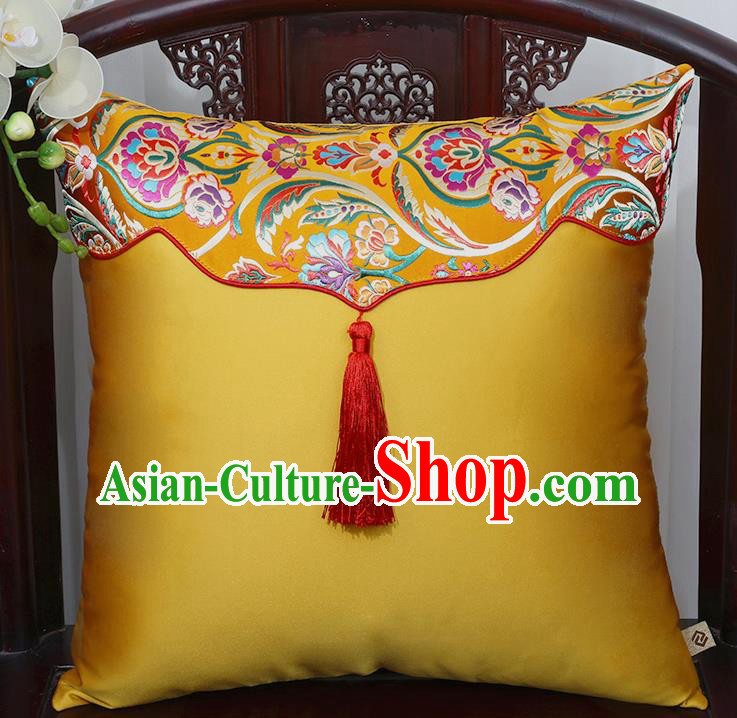 Chinese Traditional Peony Pattern Golden Brocade Tassel Back Cushion Cover Classical Household Ornament
