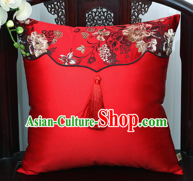 Chinese Traditional Red Brocade Back Cushion Cover Classical Household Ornament
