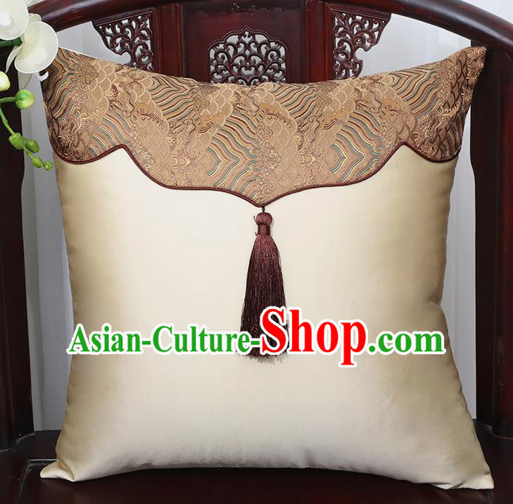 Chinese Traditional Beige Brocade Back Cushion Cover Classical Household Ornament