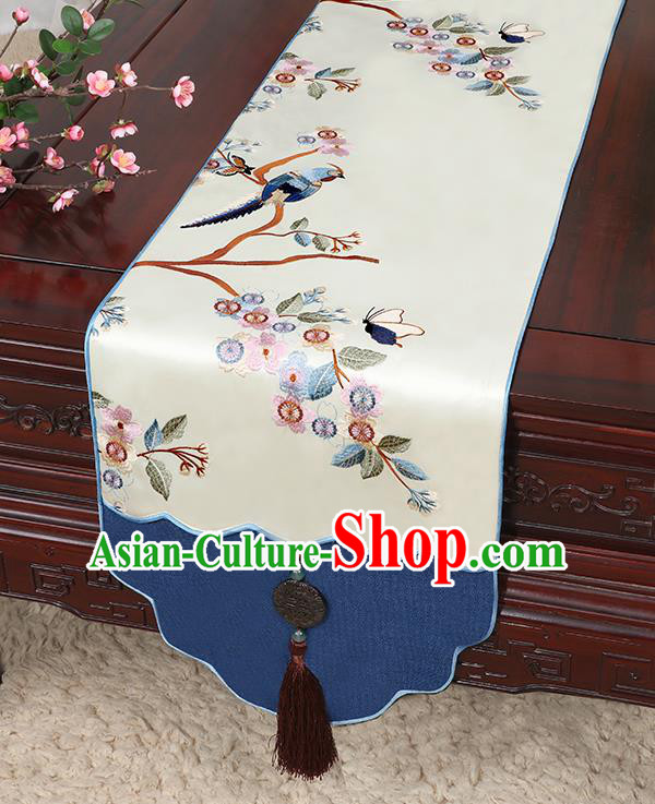 Chinese Classical Household Ornament Jade Pendant Bird Pattern Brocade Table Flag Traditional Handmade Table Cover Cloth