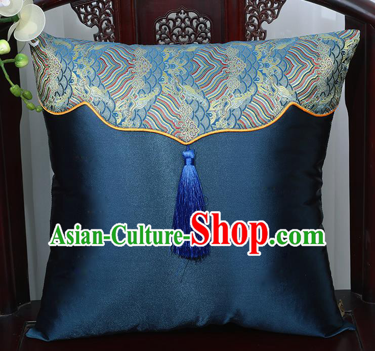 Chinese Traditional Navy Brocade Back Cushion Cover Classical Household Ornament