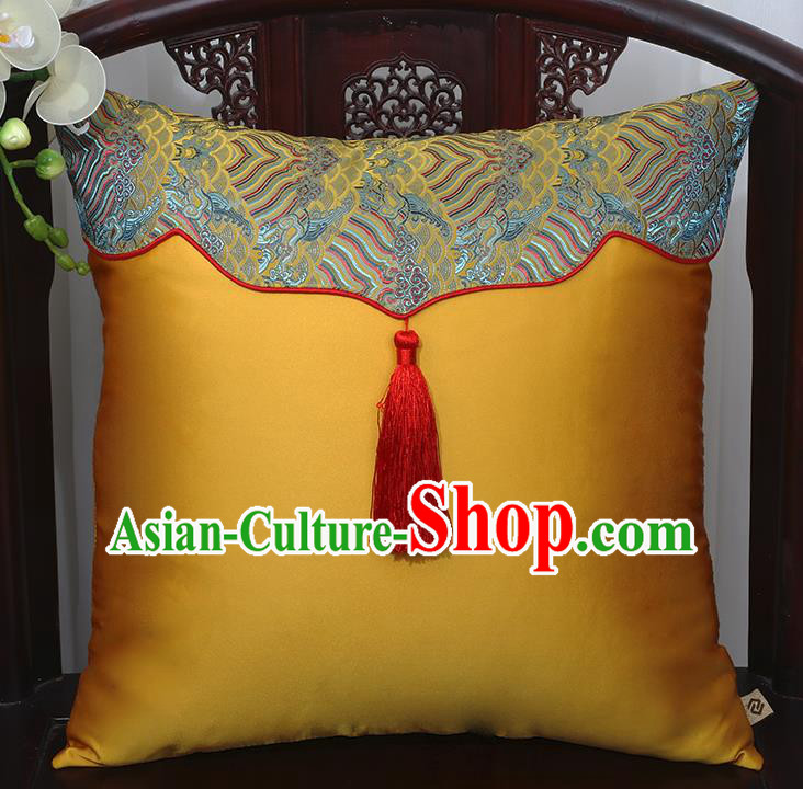 Chinese Traditional Golden Brocade Back Cushion Cover Classical Household Ornament