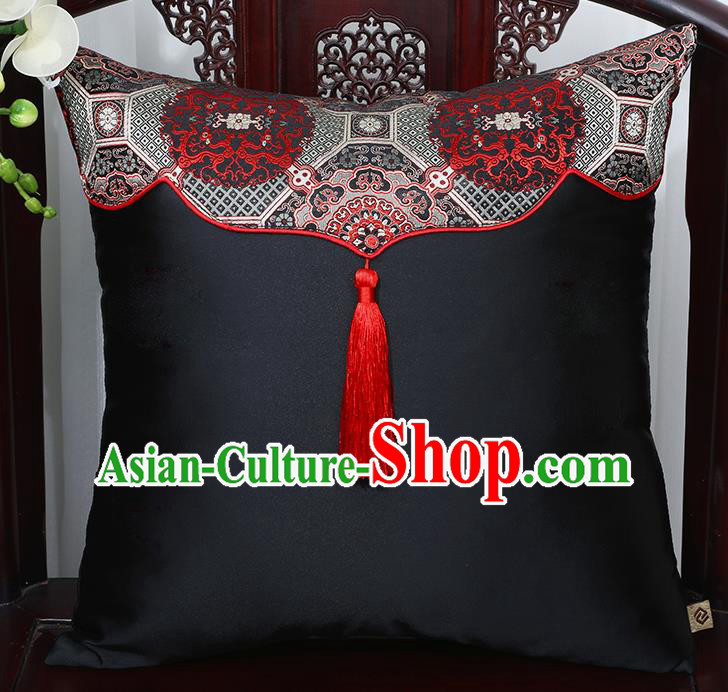 Chinese Traditional Pattern Black Brocade Back Cushion Cover Classical Household Ornament