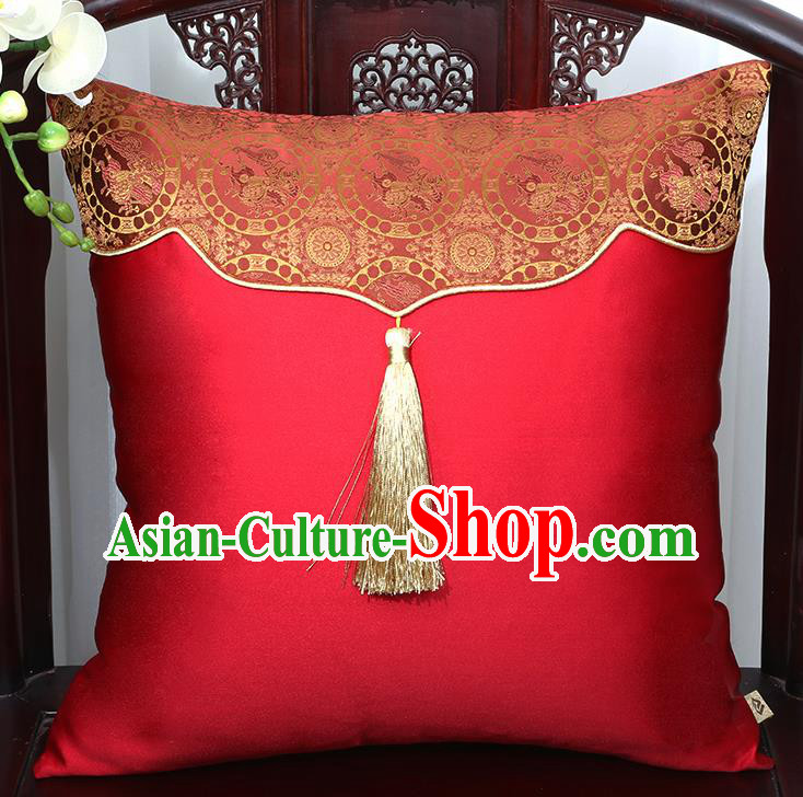 Chinese Traditional Pattern Red Brocade Tassel Back Cushion Cover Classical Household Ornament