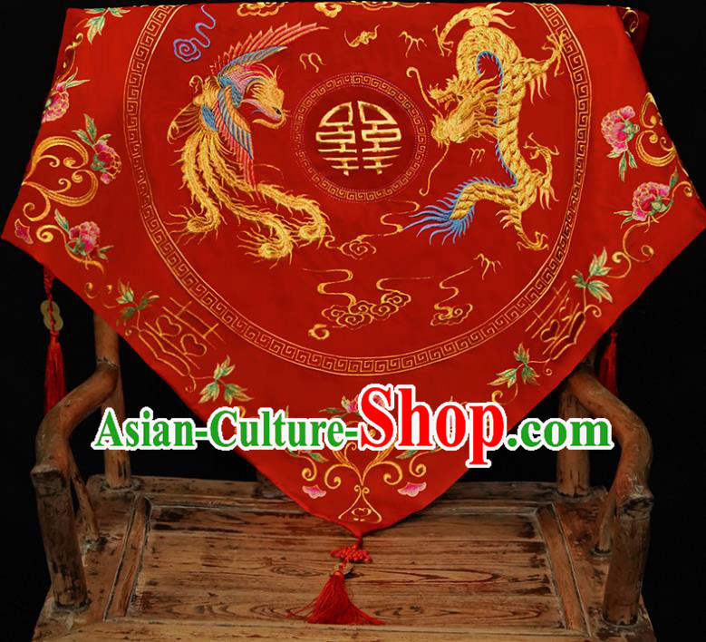 Chinese Traditional Wedding Hair Accessories Ancient Bride Embroidered Dragon Phoenix Red Cover Headwear for Women