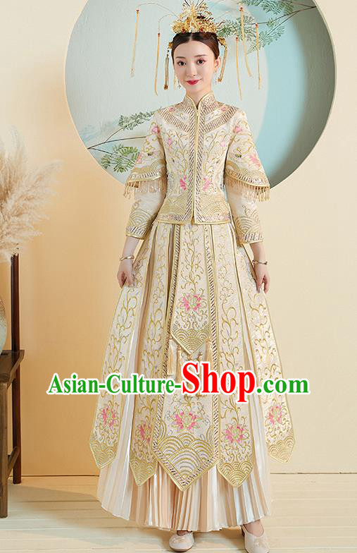 Chinese Traditional Embroidered Peony Golden Xiuhe Suits Ancient Bride Toast Wedding Costumes for Women