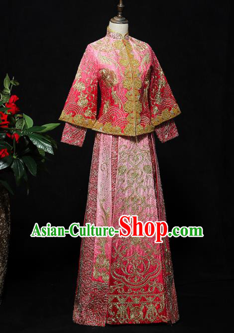 Chinese Traditional Bride Pink Xiuhe Suits Ancient Handmade Embroidered Wedding Costumes for Women
