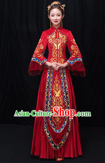 Chinese Traditional Bride Embroidered Red Xiuhe Suits Ancient Wedding Costumes for Women