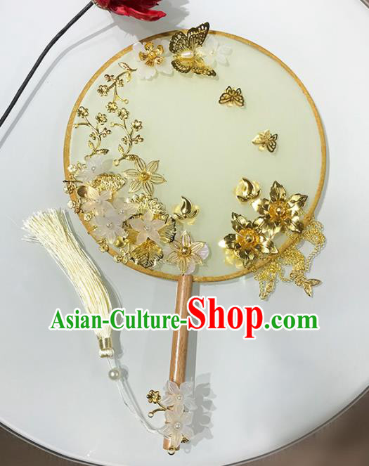 Chinese Traditional Wedding Round Fans Ancient Bride Palace Fans for Women