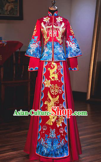 Chinese Traditional Bride Embroidered Xiuhe Suits Ancient Handmade Wedding Costumes for Women