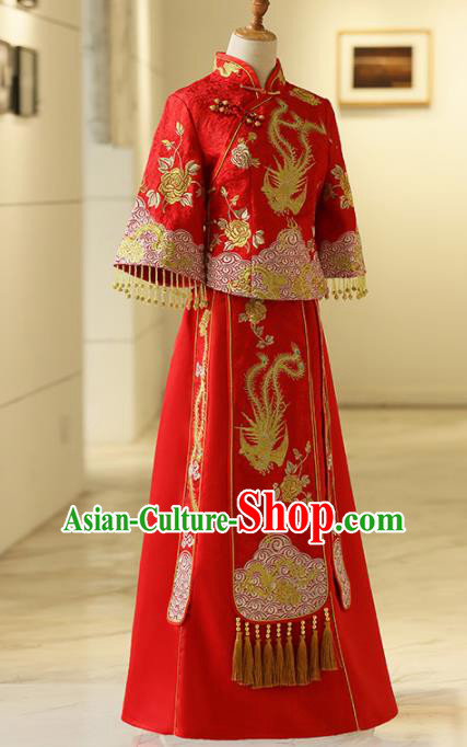 Chinese Traditional Bride Embroidered Phoenix Xiuhe Suits Ancient Handmade Red Wedding Costumes for Women