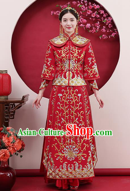 Chinese Traditional Bride Gilding Red Xiuhe Suits Ancient Handmade Wedding Costumes for Women